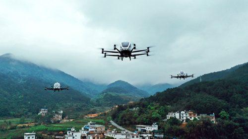 EHang provedla první lety dvoumístného leteckého taxi v Jižní Koreji